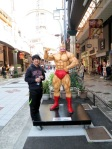 My friend Hyung by the Kinnikuman (キン肉マン) statue in Shin-Sekai.